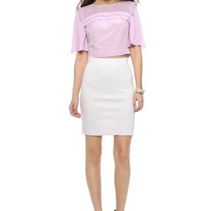 Rebecca Taylor Lavender Pleated Crop Top Size 4